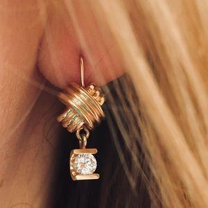 Jewelry - 14K Gold 1/2CT Diamond Drop Dangle XO Earrings